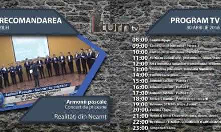 Program TV 30 aprilie 2016 si Recomandarea zilei