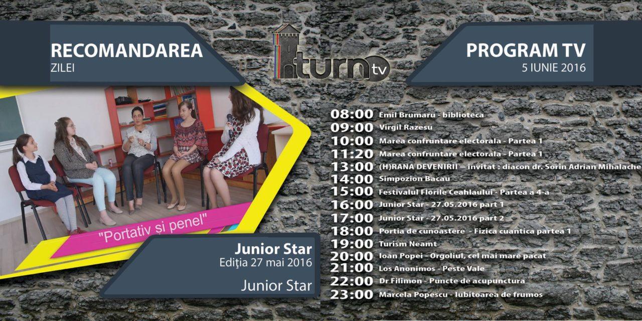 Program TV 5 iunie 2016 si Recomandarea zilei