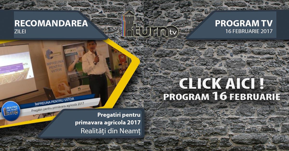 Program TV 16 februarie 2017 si Recomandarea zilei
