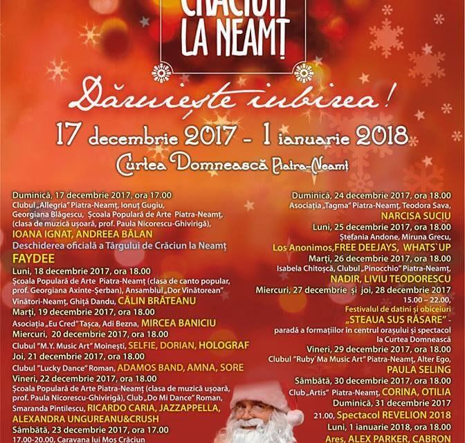 Program TARGUL DE CRACIUN, 17 DECEMBRIE 2017 – 1 IANUARIE 2018