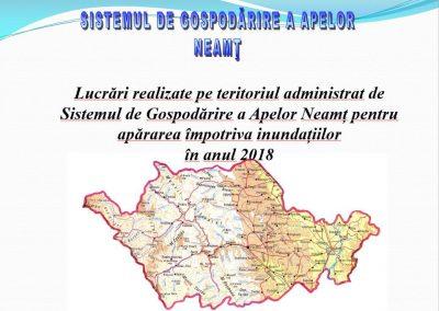 Lucrări realizate pe teritoriul administrat de Sistemul de Gospodărire a Apelor Neamț pentru apărarea împotriva inundațiilor în anul 2018