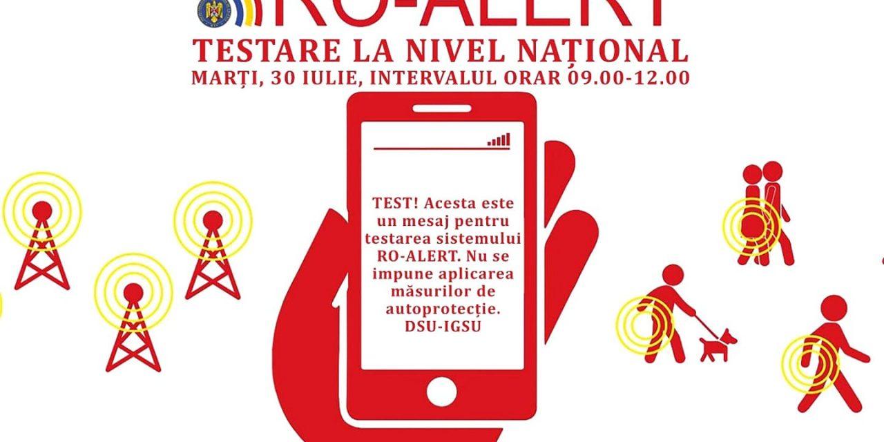 30 iulie, o nouă serie de teste pentru RO-ALERT!