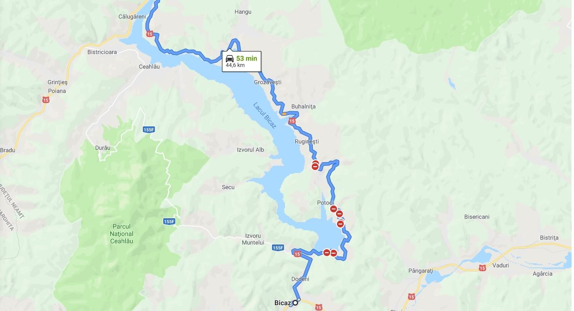 Precizări privind închiderea circulației pe DN 15, Bicaz-Poiana Largului!