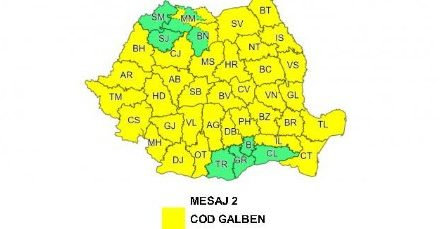 ATENȚIONARE METEOROLOGICĂ COD GALBEN