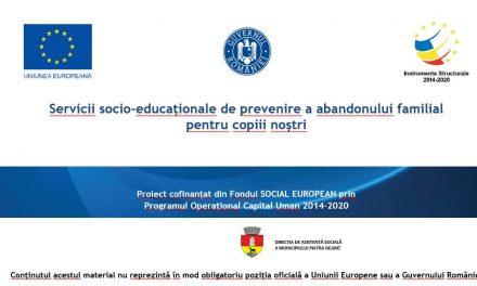 Servicii socio-educaționale de prevenire a abandonului familial  pentru copiii noștri